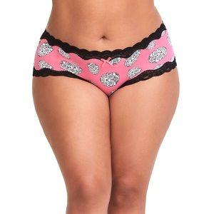 NWT Torrid 2X Pink Sugar Skull Cotton Cheeky Panty